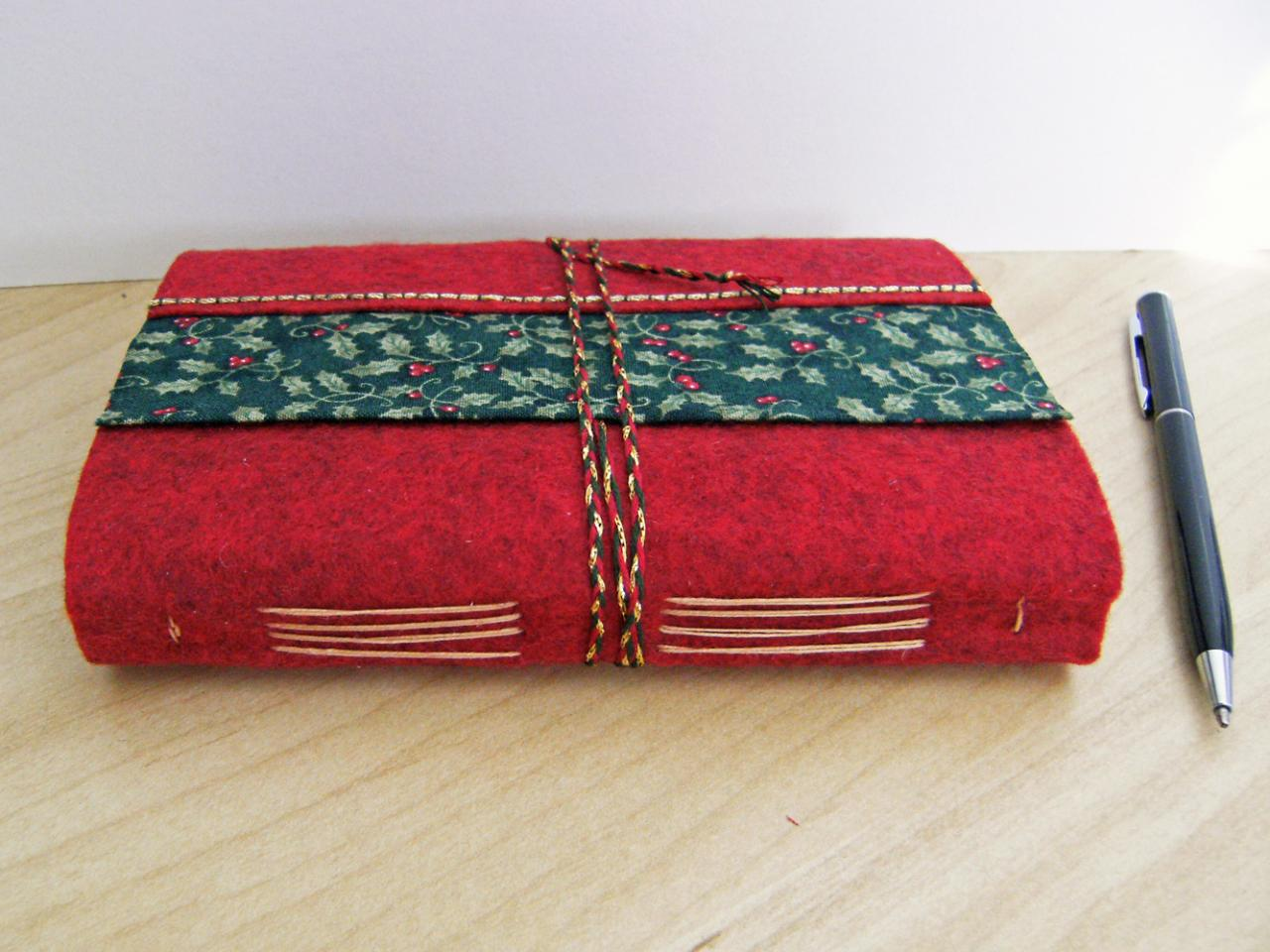 Christmas Holly - Wool Felt Embroidered Journal - Artist Book - Hand Embellished